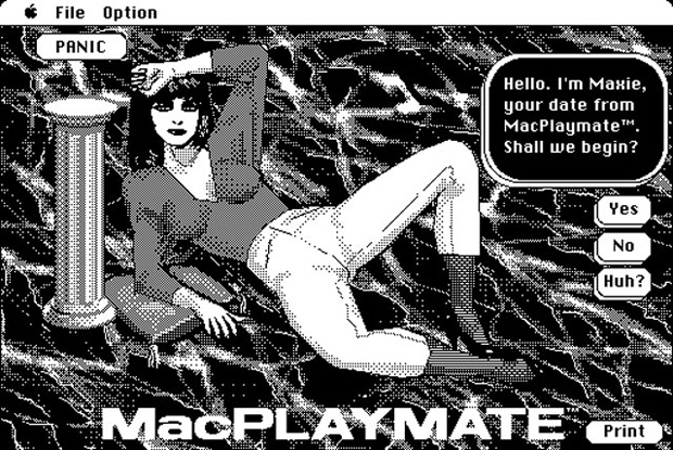Macの初エロゲー『MacPLAYMATE』。お姉さんがエッチな一人遊びを見せてくれるという代物。速度はクロックに比例しているので、早いマシンでプレイすると超早回しになります
