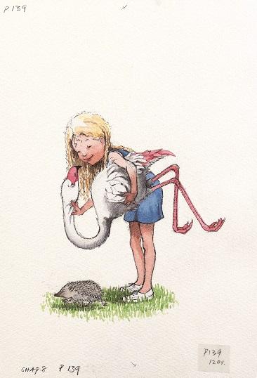 ヘレン・オクセンバリー 《木槌のフラミンゴとアリス》 1999年 水彩、鉛筆/紙 ©Helen Oxenbury